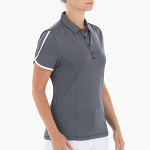 NI0210144 Nivo Allie Women's Navy Jacquard Polka Dot Patterned Polo Shirt Product Image Side