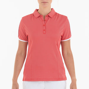 NI0210144 Nivo Allie Women's Red Jacquard Polka Dot Patterned Polo Shirt Product Image Front