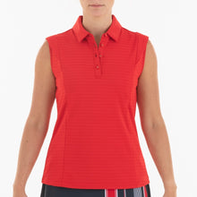 NI0210145 Nivo Alise Women's Red Sleeveless Jacquard Knit Polo Shirt Product Image Front