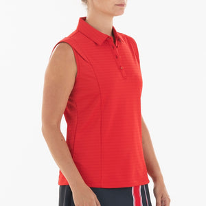 NI0210145 Nivo Alise Women's Red Sleeveless Jacquard Knit Polo Shirt Product Image Side