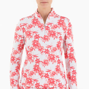NI0210156 Nivo Laverne Women's White & Geranium Liv Cool Mock Mid Layer Shirt Product Image Front