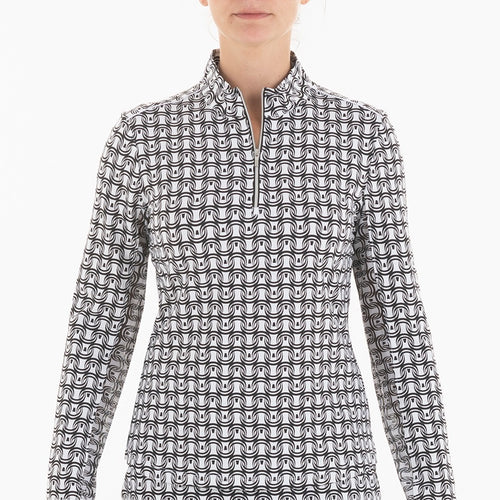 NI0210158 Nivo Letty Women's Black & White Liv Cool Mock Mid Layer Shirt Product Image Front