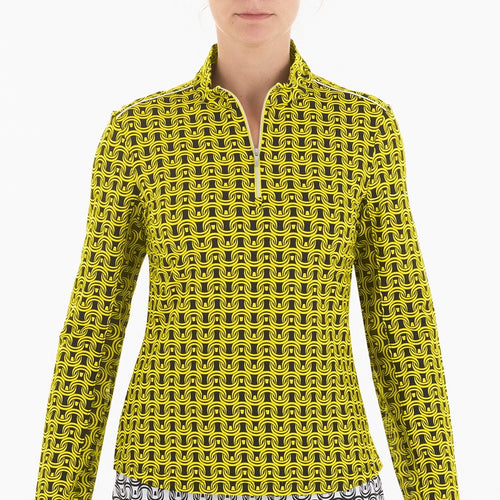 NI0210158 Nivo Letty Women's Black & Yellow Liv Cool Mock Mid Layer Shirt Product Image Front