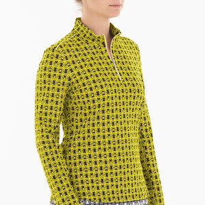 NI0210158 Nivo Letty Women's Black & Yellow Liv Cool Mock Mid Layer Shirt Product Image Side