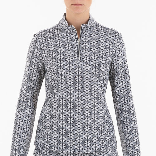 NI0210159 Nivo Lia Women's Navy Liv Cool Mock Midlayer Shirt Product Image Front