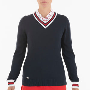 NI0210202 Nivo Angel Women's Navy V-Neck Sweater Product Image Front