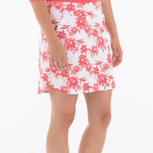 NI0210630 Nivo Ling Women's White & Geranium Floral Print Liv Cool Pull-On Skort Product Image Side