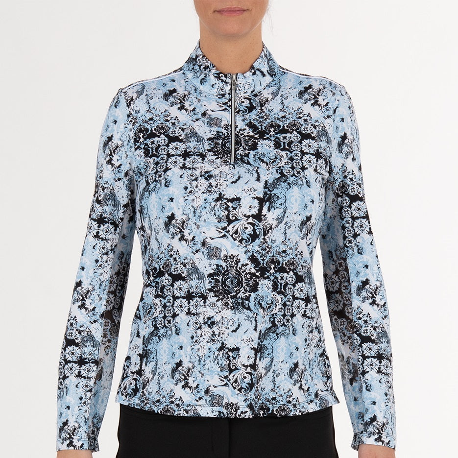 NI0211156 Nivo Lady Women's Pacific Blue Liv Cool Mock Mid-Layer Shirt Product Image Front