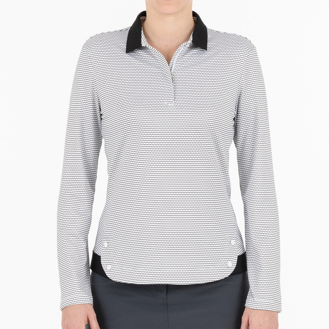 NI0211190 Nivo Ivory Women's White & Black Long Sleeved Polo Shirt Product Image Front