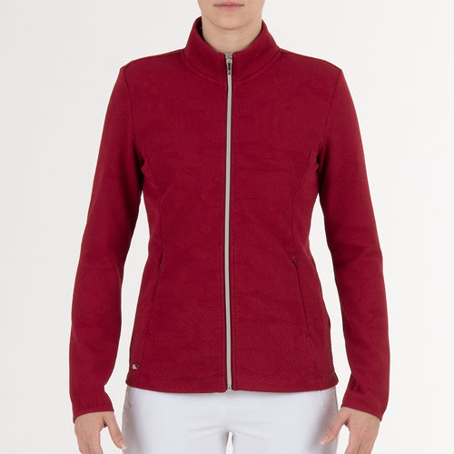NI0211703 Nivo Indie Women's Rouge Jacquard Knit Full-Zip Jacket Product Image Front