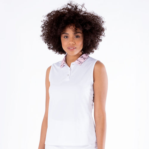 NI1211120 Nivo Darci Ladies White Sleeveless Polo Shirt Product Image Front