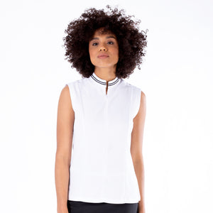 NI1211122 Ladies Nivo Dessa Sleeveless Mock Neck Top in White Product Image Front