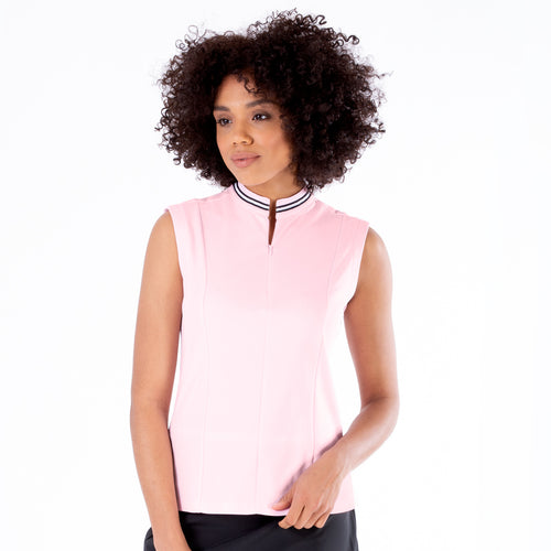 NI1211122 Nivo Dessa Ladies Quiet Pink Mock Neck Sleeveless Shirt Product Image Front