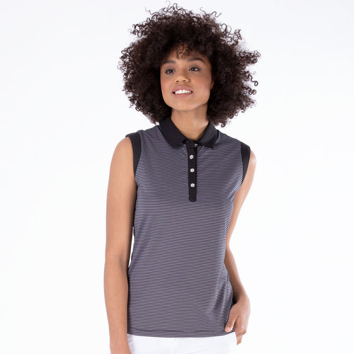 NI1211123 Ladies Nivo Dottie Jacquard Sleeveless Polo Shirt in Black Product Image Front