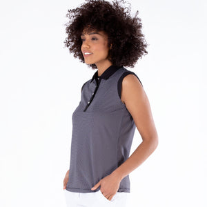NI1211123 Ladies Nivo Dottie Jacquard Sleeveless Polo Shirt in Black Product Image Side