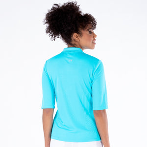 NI1211132 Nivo Sylvie Half Sleeve Polo Shirt in Aqua Product Image Rear