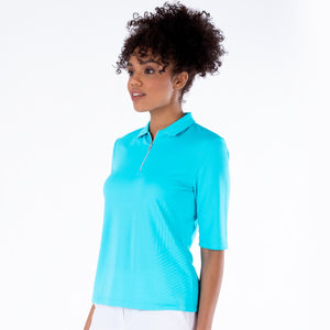NI1211132 Nivo Sylvie Half Sleeve Polo Shirt in Aqua Product Image Side