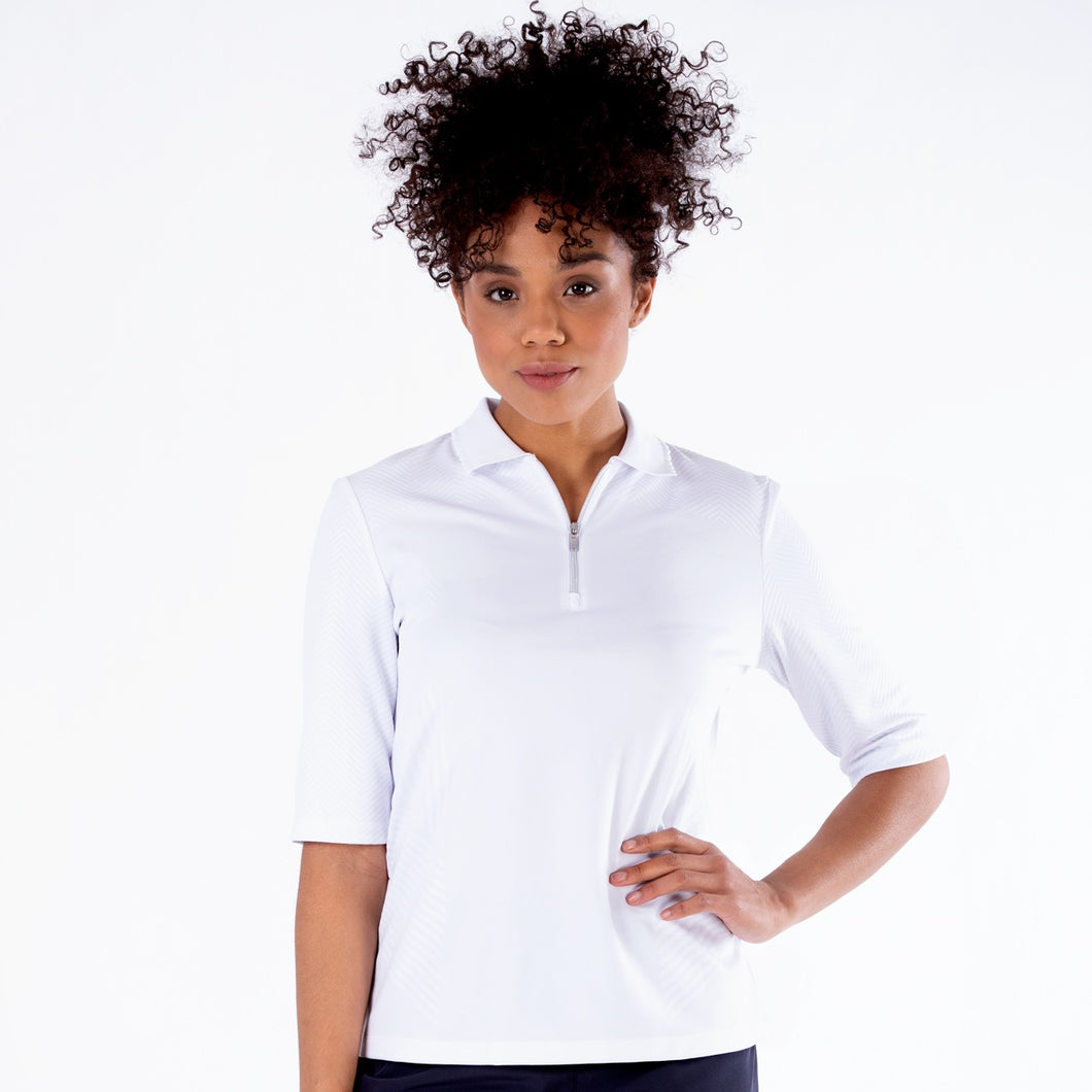 NI1211132 Nivo Sylvie Half Sleeve Polo Shirt in White Product Image Front