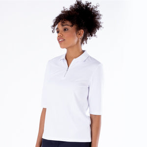 NI1211132 Nivo Sylvie Half Sleeve Polo Shirt in White Product Image Side