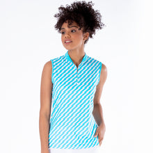 NI1211133 Nivo Savanna Ladies Aqua Sleeveless Mock Neck Top Product Image Front