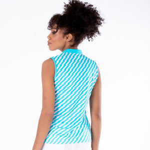 NI1211133 Nivo Savanna Ladies Aqua Sleeveless Mock Neck Top Product Image Rear
