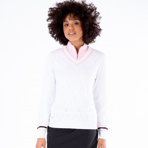 NI1211200 Nivo Ladies Bonnie V-Neck Cotton Sweater in White Product Image Front