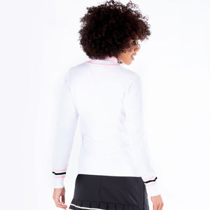 NI1211200 Nivo Ladies Bonnie V-Neck Cotton Sweater in White Product Image Rear