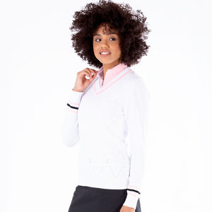 NI1211200 Nivo Ladies Bonnie V-Neck Cotton Sweater in White Product Image Side
