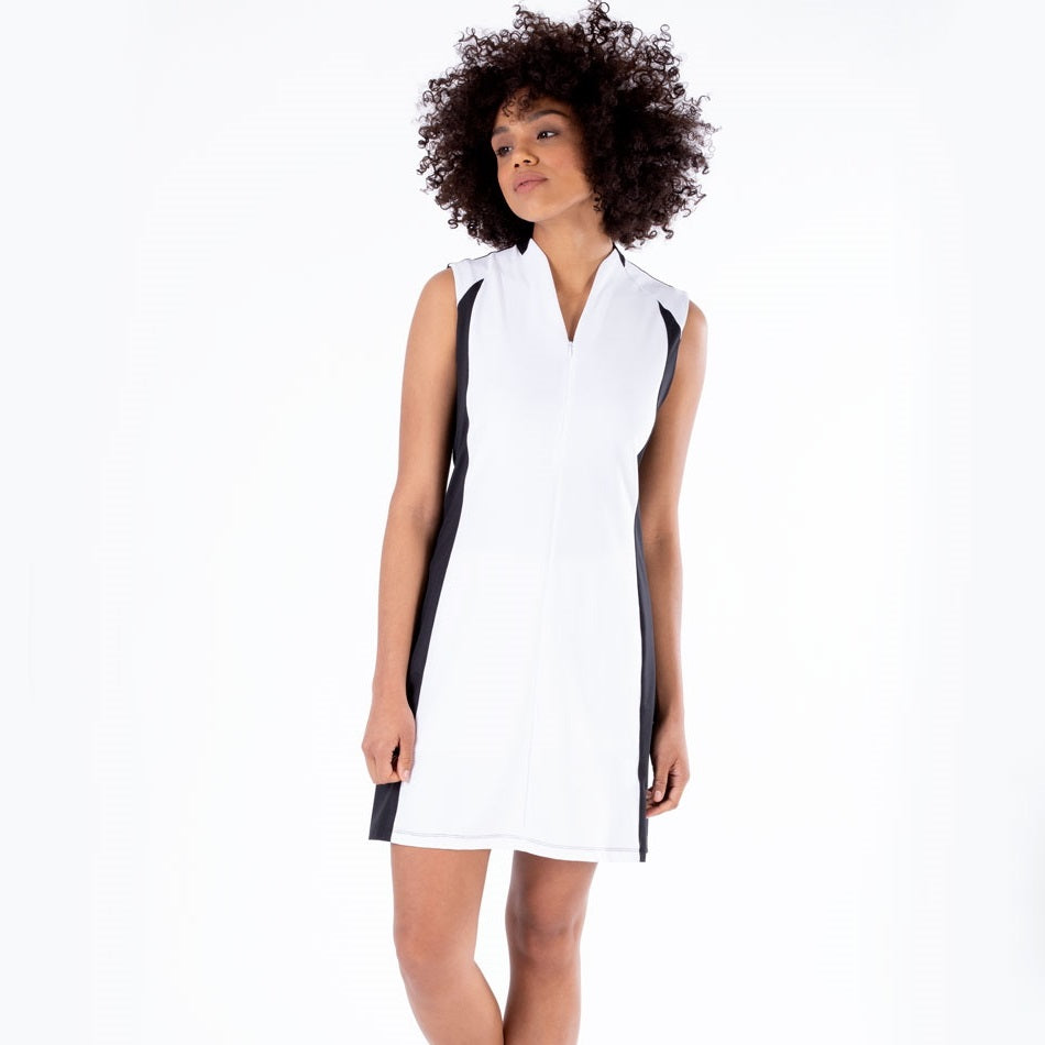 NI1211641 Nivo Dominque Sleeveless Dress in Black and White Product Image Front