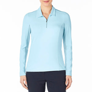 Nivo Women's Liv Cool Long Sleeve Polo Shirt Product Image Front NI7210153_401