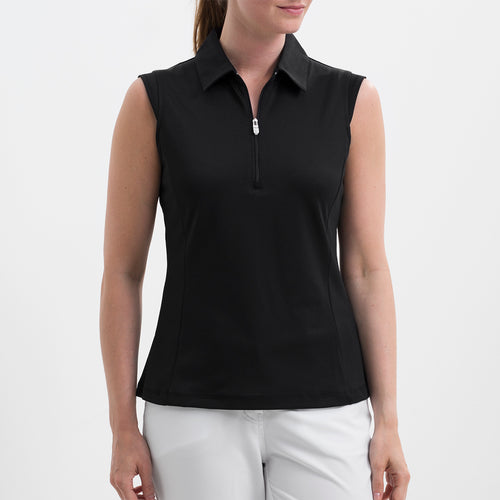 NI8210101 Nivo Women's Nelly Black Essentials Sleeveless Polo Shirt Product Image
