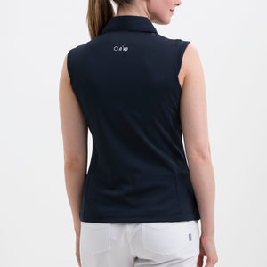 NI8210101 Nivo Women's Nelly Navy Essentials Sleeveless Polo Shirt Product Image Back
