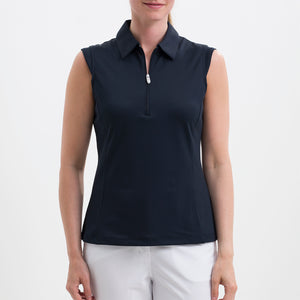 NI8210101 Nivo Women's Nelly Navy Essentials Sleeveless Polo Shirt Product Image Front