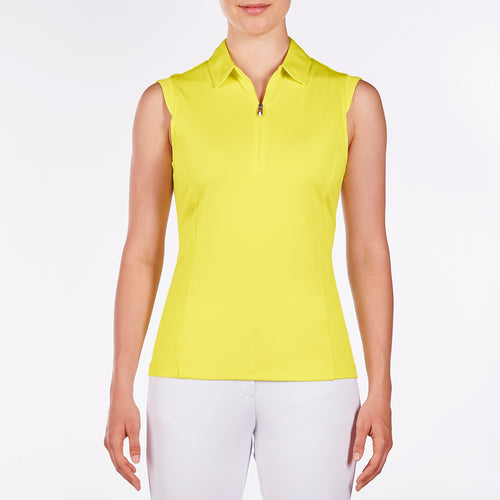 NI8210101 Nivo Women's Nelly Pale Lime Essentials Sleeveless Polo Shirt Product Image Front