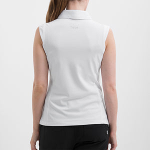 NI8210101 Nivo Women's Nelly White Essentials Sleeveless Polo Shirt Product Image Back