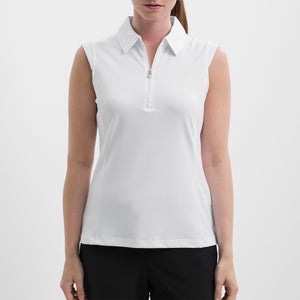 NI8210101 Nivo Women's Nelly White Essentials Sleeveless Polo Shirt Product Image Front