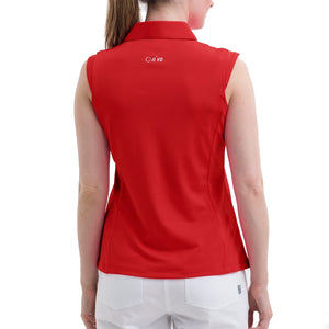 Nivo Women's Nelly Red Sleeveless Polo Shirt Model Back NI8210101