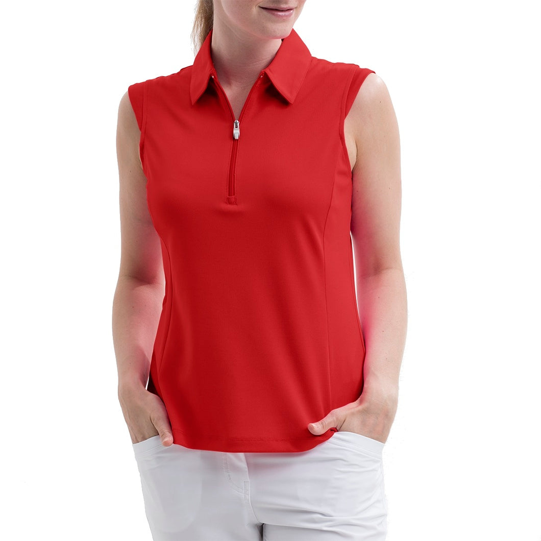 Nivo Women's Nelly Red Sleeveless Polo Shirt Model Front NI8210101