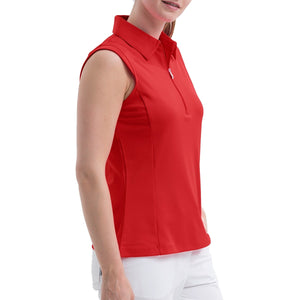 Nivo Women's Nelly Red Sleeveless Polo Shirt Model Side NI8210101