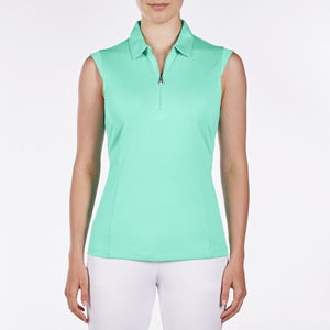 NI8210101 Nivo Women's Nelly Atlantis Green Essentials Sleeveless Polo Shirt Product Image Front