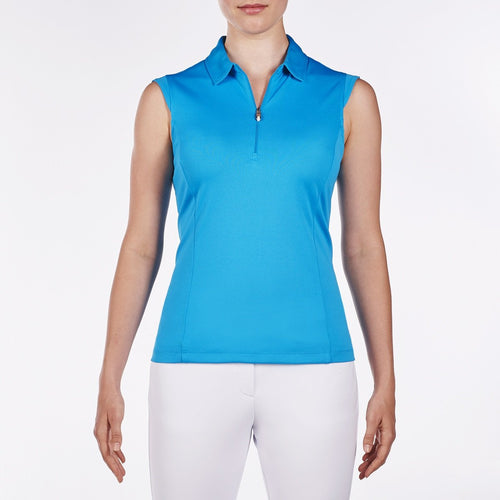 NI8210101 Nivo Women's Nelly Malibu Blue Essentials Sleeveless Polo Shirt Product Image Front