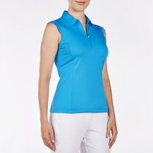 NI8210101 Nivo Women's Nelly Malibu Blue Essentials Sleeveless Polo Shirt Product Image Side