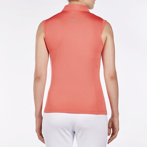 NI8210101 Nivo Women's Nelly Sunkist Coral Essentials Sleeveless Polo Shirt Product Image Back