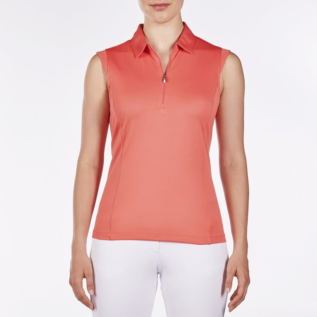 NI8210101 Nivo Women's Nelly Sunkist Coral Essentials Sleeveless Polo Shirt Product Image Front
