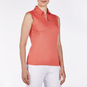 NI8210101 Nivo Women's Nelly Sunkist Coral Essentials Sleeveless Polo Shirt Product Image Side
