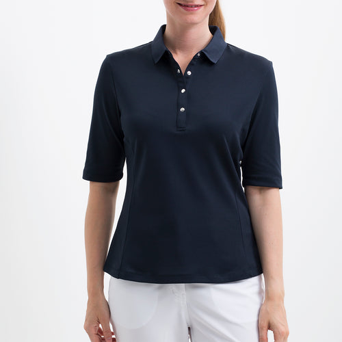 NI8210102 Nivo Women's Nini Navy Essentials Half Sleeve Polo Shirt Product Image Front
