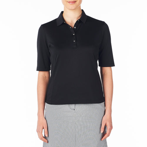 Nivo Women's Nina Black 3/4 Sleeve Polo Shirt Product Image Front NI8210103