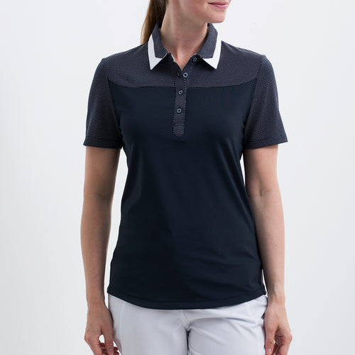 Nivo Women's 'Hayley' Polo Shirt in Navy at The Golf Outfit Model Image Front NI8210146