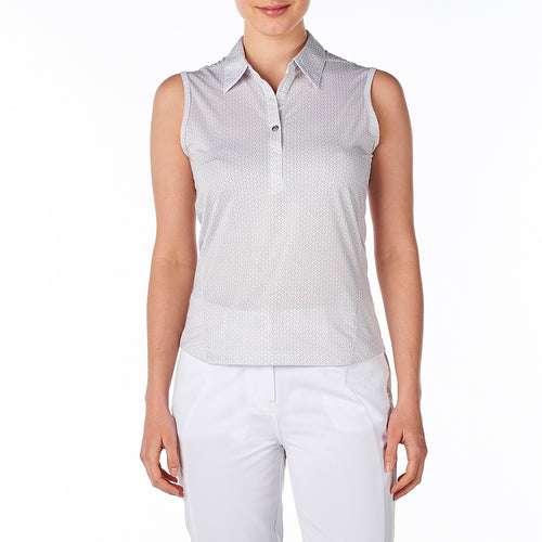 Nivo Women's Willow Shell Beige Sleeveless Polo Shirt Model Front NI8210174
