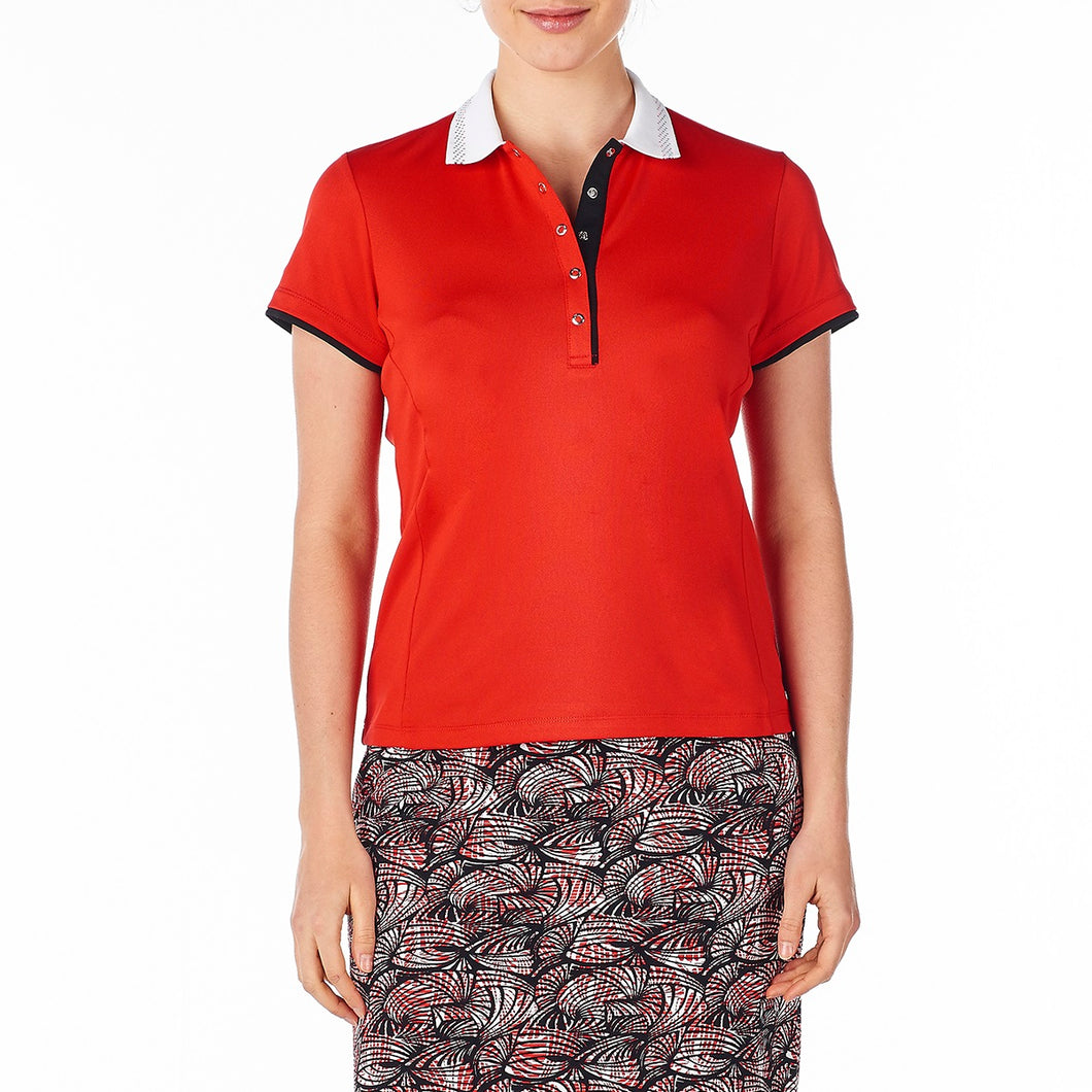 Nivo Women's Rumer Red Polo Shirt Model Image Front NI8210182